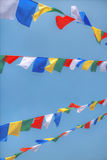 Colorful waving prayer flags Royalty Free Stock Images