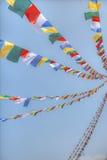 Colorful waving prayer flags Royalty Free Stock Image