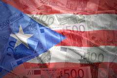 Colorful waving puerto rican flag on a euro  background Royalty Free Stock Images