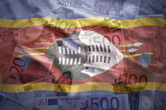 Colorful waving swaziland flag on a euro  background Stock Photo