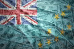 Colorful waving tuvalu flag on a dollar money background Stock Photography