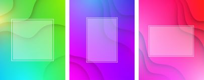 Colorful wavy backgrounds with white frame. Green, purple and pink abstract wavy backgrounds with white frame. Vector illustration.r Stock Photography