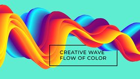 Colorful wavy flows of a fluid lines. And liquid shapes with a smooth splash of color stock illustration