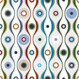 Colorful wavy lines and circles textile seamless pattern. Royalty Free Stock Photo