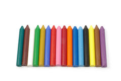 Colorful wax crayons. Isolated on white Royalty Free Stock Photos