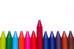 Colorful wax crayons Stock Photos