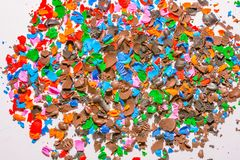 Colorful wax scraps from the tips royalty free stock images
