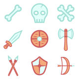Colorful weapons and bones icon set. Assets set for game design and web application. Colorful weapons and bones icon set. Ready assets set for game design and vector illustration
