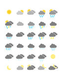 Colorful weather icons. Collection of colorful weather icons Royalty Free Stock Photos