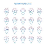 Colorful weather line pin collection royalty free illustration