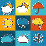 Colorful weather symbols Stock Photo