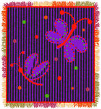 Colorful weave carpet with vertical zigzag stripes,applique of stylized butterfly and fringe Stock Photo