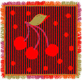 Colorful weave carpet with vertical zigzag stripes,applique of stylized cherry and fringe Royalty Free Stock Photography