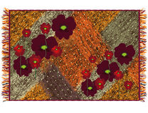 Colorful weave grunge striped tapestry with applique of red poppies Royalty Free Stock Photography