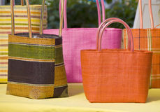 Colorful Weaved Hand Bags Stock Photography
