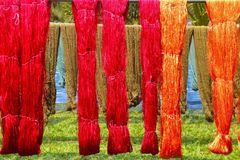 The colorful Weaving loom and the silk Stock Photography