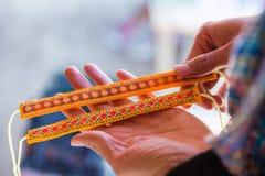 Colorful Weaving Wrist Band. Product of Native People at Luang Prabang, Laos Stock Photos