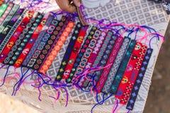 Colorful Weaving Wrist Band. Product of Native People at Luang Prabang, Laos Royalty Free Stock Photography