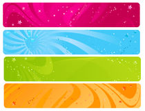 Colorful web banners. With wave design and glossy stars Royalty Free Stock Image
