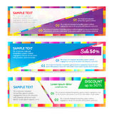 Colorful web banners. Colorful banners. Vector design Banner backgrounds Stock Images