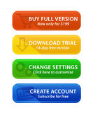 Colorful web buttons with icons. Web buttons with icons in 4 colors Stock Image