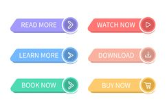 Free Colorful Web Buttons. Set Of Website Buttons To Go To The Desired Action. Read More, Learn More, Book Now, Watch Now, Download, Bu Stock Photos - 162982353