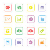 Colorful flat finance and technology icon set with rounded rectangle frame. For web design, user interface (ui), infographic and mobile application Royalty Free Stock Photos