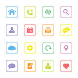 Colorful flat web and technology icon set with rounded rectangle frame. For web design, user interface (ui), infographic and mobile application Stock Images