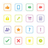 Colorful flat miscellaneous icon set with rounded rectangle frame. For web design, user interface (ui), infographic and mobile application stock image
