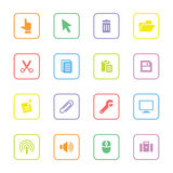 Colorful flat computer and technology icon set with rounded rectangle frame Stock Photos