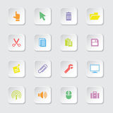 Colorful flat computer and technology icon set on rounded rectangle button Royalty Free Stock Photos