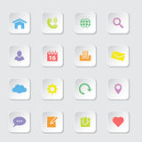 Colorful flat web and technology icon set on rounded rectangle button Royalty Free Stock Images