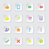 Colorful flat miscellaneous icon set on rounded rectangle button Stock Image