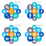 Colorful web icons. Modern website shopping family and summer icons Stock Illustration
