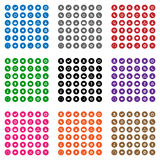 Colorful web icons. Set of flat design web icons in 9 colors stock illustration