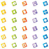 Colorful Web Icons (Vector). Dynamic, round cornered square icons on edge with cast shadow. 30 useful web icons with a clean and colorful style Royalty Free Stock Photography