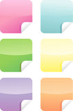 Colorful web labels/stickers. Set of six colorful labels/stickers (square) with paper curl Royalty Free Stock Photography