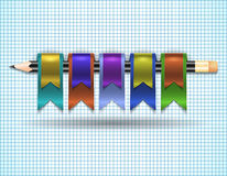 Colorful web ribbons with pencil Royalty Free Stock Photo