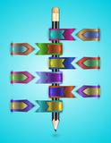 Colorful web ribbons with pencil Royalty Free Stock Image
