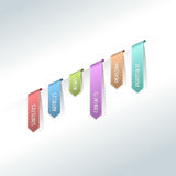 Colorful web stickers, tags and labels. Colorful hanging site menu Stock Images