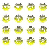 Colorful web and technology icon set on circle stock illustration