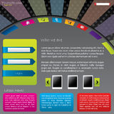 Colorful web template design with login screen Stock Photography