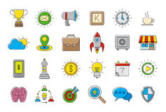 Colorful Web vector icons set. Set of 24 colorful Web vector icons Stock Photos