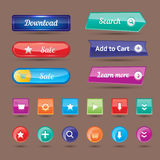 Colorful website buttons design vector illustration glossy graphic label internet template banner. Stock Image