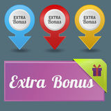 Colorful website extra bonus buttons design vector illustration glossy graphic label template banner. Colorful website extra bonus buttons design vector vector illustration