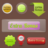 Colorful website extra bonus buttons design vector illustration glossy graphic label template banner. Colorful website extra bonus buttons design vector stock illustration