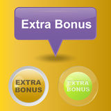 Colorful website extra bonus buttons design vector illustration glossy graphic label template banner. Colorful website extra bonus buttons design vector royalty free illustration