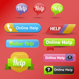 Colorful website online help buttons design vector illustration glossy graphic label template banner. Stock Photos