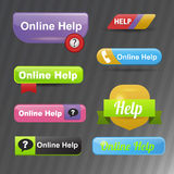 Colorful website online help buttons design vector illustration glossy graphic label template banner. Stock Photo