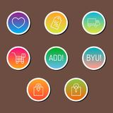 Colorful website online shop web buttons design vector illustration glossy graphic label internet confirm template. Banner. Rounded blank menu reflection Royalty Free Stock Photo
